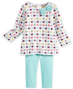 First Impressions presents an irresistibly charming two-piece casual ensemble for baby girl with this vibrant intarsia sweater tunic and matching leggings set. | Tunic: cotton/acrylic; leggings: cotto