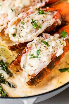 Maine Lobster Tails with Creamy Lemon Parmesan and Asparagus | Lobster from Maine