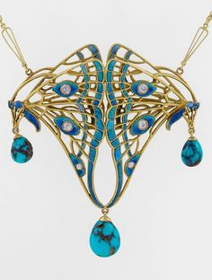 An Art Nouveau pendant necklace, circa 1900. Designed as double butterfly wings in a dimensional openwork motif, applied with enamel and set with six old European-cut diamonds, three articulated pear shaped veined turquoise drops, mounted in 18K gold. Signed and with French assay mark.