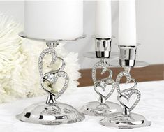 Sparkling Love Wedding Candle Stand Set | Hearts Wedding Candle Set