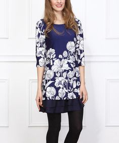 Look at this Navy & White Floral Double Ruffle-Hem Tunic on #zulily today!