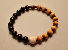 Men's Burly & Black Wood Cross Stretch Bracelet by SoFineDesigns on Etsy