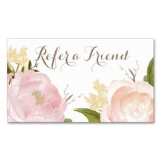 Romantic Watercolor Flowers Refer a Friend Card - Business Card Template