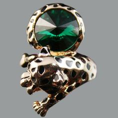 Cartier Inspired Leopard Crystal Gold Rings