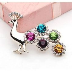 Promotion! Wholesale! Min.order is $10(mix order)High quality colorful rhinestone popular peacock brooch female PB006 $3.78