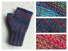 This is a basic pattern for fingerless mittens / handwarmers / wrist warmers, or whatever you want to call them, using chunky / bulky yarn. One pair will use just fractionally less than 50g, so it's an easy and satisfying one skein project.