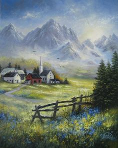 """""""Village View"""" - Landscape Painting alpine by VickieWade"""