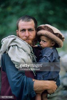 Stock Photo : Pakistan, Kalash Valleys, Bumboret valley, Kalash father and son