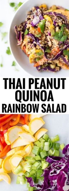 Peanut Quinoa Rainbow Salad Love this recipe from ! Thai Peanut Quinoa Rainbow Salad ( and packed with vegetables and topped with an addictive peanut sauce!Thai Thai or THAI may refer to: THAI Veggie Recipes, Beef Recipes, Whole Food Recipes, Salad Recipes, Vegetarian Recipes, Cooking Recipes, Healthy Recipes, Veggie Meals, Rainbow Salad