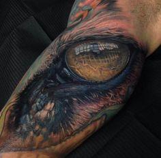 Realistic Dragon Eye Cool Arm Tattoo For Guys