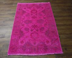 3×5 HOT PINK FUCHSIA RUG USHAK OVERDYED HANDKNOTTED WOOL 2767 - See more at: http://westofhudson.com/product/3x5-hot-pink-fuchsia-rug-ushak-overdyed-handknotted-wool-2767