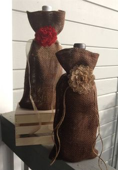 Brown Burlap Wine Bag with Burlap Flower by NotoriousG on Etsy, $6.50