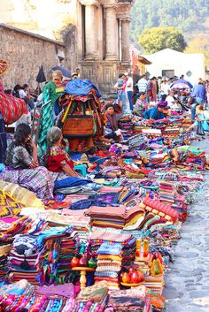 El Mercado - Antigua - Guatemala - would I LOVE a fabric shopping spree here!!!!