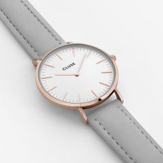 Buy CLUSE Women's La Boheme Rose Gold Leather Strap Watch, Light Grey/White from our Women's Watches range at John Lewis & Partners. Boho Chic, Mesh Armband, Clusia, Pink Watch, Rose Gold Watches, Women's Watches, Rose Gold Color, Color Oro, Leather Pouch