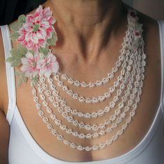 Summer necklace made of dreamy vintage tatting lace ooak bridal handmade peony flower charm. $30.50, via Etsy.