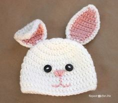 Bunny Hat, free crochet pattern in 6 sizes from newborn through adult by Repeat Crafter Me