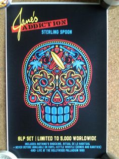 Janes Addiction promo poster for 'Sterling Spoon' 6×LP box set released in USA. Poster measures 17×11 inches approx.
