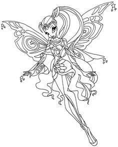 Stella Flies Away Coloring Page From Winx Club Category Select 30017 Printable Crafts Of Cartoons Nature Animals Bible And Many More