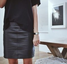 black tee and leather skirt perfect for the capsule wardrobe #style