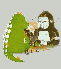 theillegitimatemeowpire:    Godzilla and Kingkong!!!