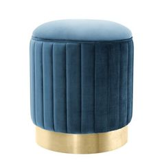 This transitional roche teal blue velvet stool is designed with a luxurious blue and a brushed brass base. Add this stool in your home for a touch of luxury and sophistication Bedroom Stools, Living Room Stools, Room Chairs, Office Chairs, Dining Room, Lounge Chairs, Dining Chairs, Upholstered Stool, Ottoman Stool
