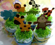 Diaper Cakes Safari Animal ..Safari Baby by mollbelldesigns