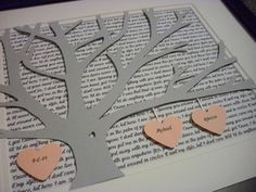 Personalized framed d paper tree wedding gift anniversary