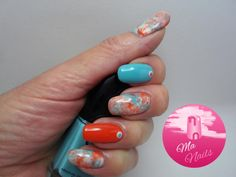 Turquoise and Orange Saran Wrap Nails Essie Marshmallow Eve Snow London Ez Like Sunday Morning Eve Snow London Real B*tches Love Rih Saran Wrap (Cling Film) Dotting Tools