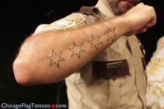 Rob Racine Chicago Flag Tattoo Closeup