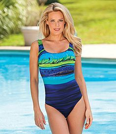 Inches Away Diva Ombre Stripe OnePiece Swimsuit #Dillards I love this suit but it is only in large sizes!