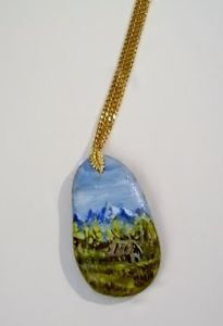 #Vintage 1976 Hand #Painted #Rock #Pendant #Necklace  ☞☞ http://r.ebay.com/ZzhRGD #shopping #eBay #OOAK #signed #art #jewelry #gifts