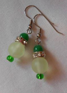 Handmade Earrings New Green Sea Glass Beads Rhinestone Spacers Green Top Beads #Handmade #DropDangle