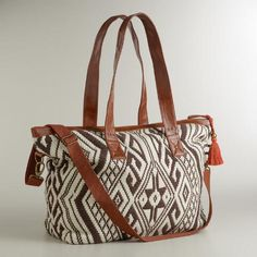 Brown and Ivory Large Aztec Bag | World Market