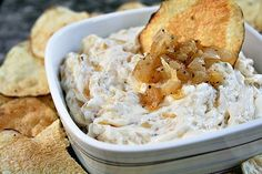 Pan-Fried Onion Dip  Barefoot Contessa cookbook..by far my favorite Ina recipe.  This is my go to party dip and EVERY time I make it the recipe is requested. It is simple, homemade and huge on flavor.  I highly recommend this!