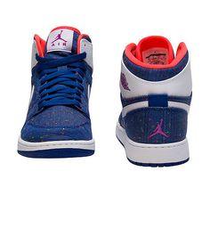 9eb40778112 JORDAN Retro 1 High High top kid s sneaker Lace up closure Denim upper  Multi colored stitching detai.
