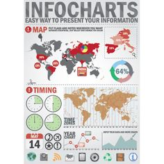 Vector Infographic Design elements World map, time zones and set of business related icon for presentation and graph