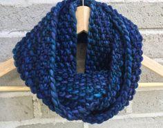 Dark Blue and Deep Purple Merino Wool Hand by OopsIKnittedAgain