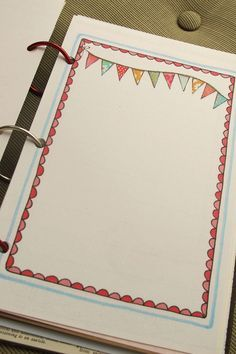 I have a paralyzing fear of the blank page that has prevented me from jumping on the journal bandwagon. The other day, Pam and I had an id. Page Borders Design, Border Design, Bullet Journal Layout, My Journal, Blank Journal, Page Decoration, Cute Doodles, Art Journal Inspiration, Smash Book