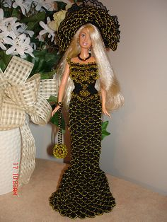Black (yellow beaded) crocheted Barbie dress | Flickr - Photo Sharing!