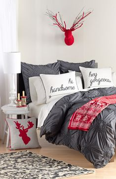 Red, white and gray bedroom set. So cute for the holidays.