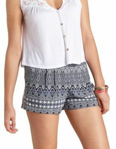 Printed Crochet Trim High-Waisted Dolphin Shorts: Charlotte Russe ...
