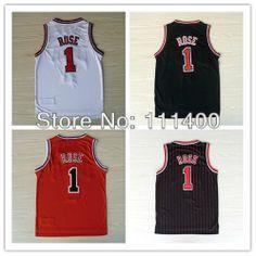 Envío gratuito de los hombres camisetas de baloncesto  1 derrick rose negro  rojo blanco y 941842ea5ca61