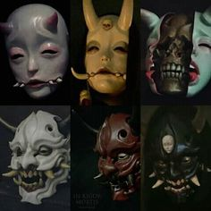 Character Inspiration, Character Art, Japanese Mask, Tattoo Japanese, Oni Mask, Mask Drawing, Japon Illustration, Cool Masks, Arte Horror