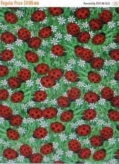 NEW YEAR SALE Ladybugs and Flowers,Cotton Fabric, Quilt,by Timeless Treasures, Debi C1175Fast Shipping N307