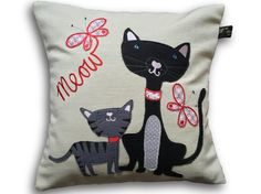 Handmade charming Kit and Kat cat cushion by Jillygriffindesigns