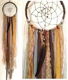 Bohemian Spirit Vintage Fabric Dreamcatcher by kmichel on Etsy, $55.00