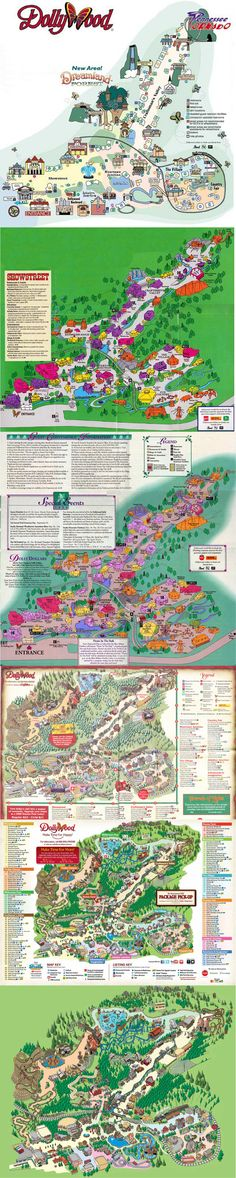 Dollywood Maps through the years. Parc Attraction, Theme Park Map, Amusement Parks, Weekend Getaways, Tennessee, City Photo, Maps, Southern, Smile