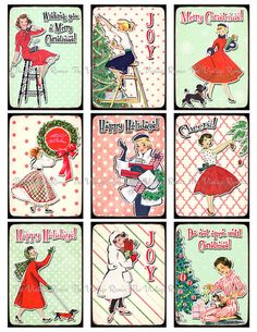 Digital Collage Sheet of cheerful, retro Christmas images!    Now offering INSTANT DOWNLOADS! You will find a link to your download on your purchase receipt. A link will also be sent to your Etsy e-mail address with-in minutes after purchase.    Each image measures 2.5 x 3.5 inches and the full JPG file size is 8.5 x 11 inches in high resolution 300 dpi...the perfect resolution for printing.    Images can be printed onto cardstock, sticker sheets, photo paper, fabric transfer sheets and…