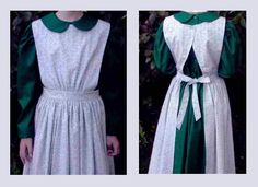 This pinafore apron is a sweet and versatile choice for cooking, cleaning, outdoor chores, or adde Victorian Aprons, Victorian Costume, Aprons Vintage, Modest Dresses, Modest Outfits, Plain Dress, Dress Up, Pinafore Pattern, Pinafore Apron