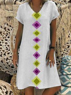 426fe8cfe0a4b Summer Geometric Print V-Neck Shift Casual Dress